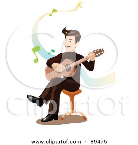Male Guitarist Strumming His Guitar On A Stool, Over White With Music Notes Posters, Art Prints