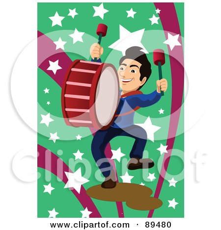 Royalty-Free (RF) Clipart Illustration of a Marching Band Drummer Over Green And Pink With Stars by mayawizard101