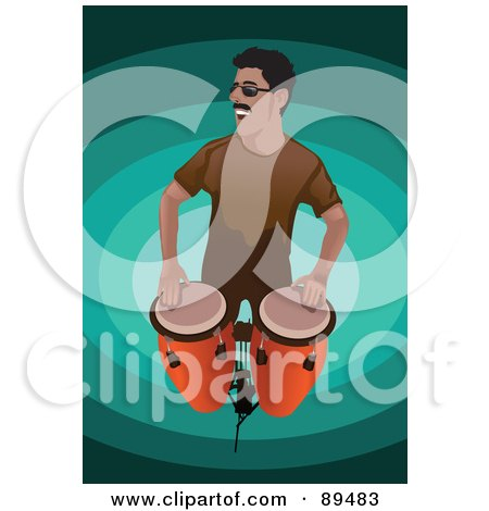 Royalty-Free (RF) Clipart Illustration of a Man Standing And Playing Conga Drums by mayawizard101