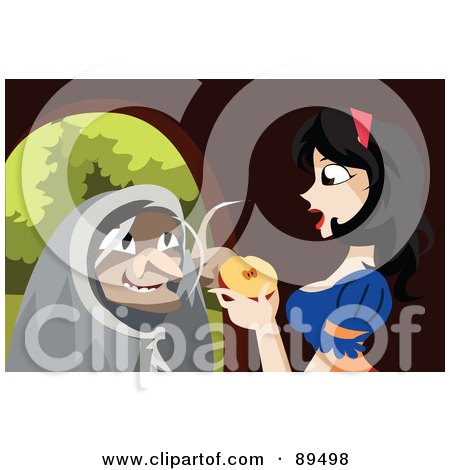 Old Witch Urging Snow White To Eat A Poisoned Apple Posters, Art Prints