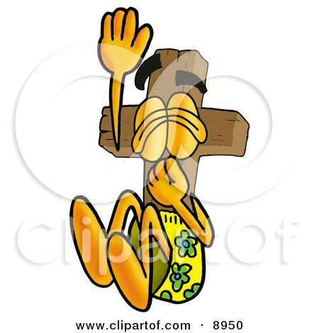 Clipart Picture of a Wooden Cross Mascot Cartoon Character Plugging His Nose While Jumping Into Water by Toons4Biz