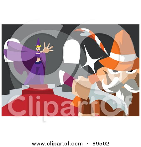 Royalty-Free (RF) Clipart Illustration of Snow White's Evil Stepmother Sending A Man To Kill The Princess by mayawizard101