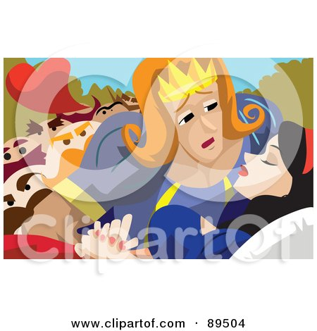 Royalty-Free (RF) Clipart Illustration of a Prince Leaning In To Kiss And Awaken Snow White From Her Spell by mayawizard101