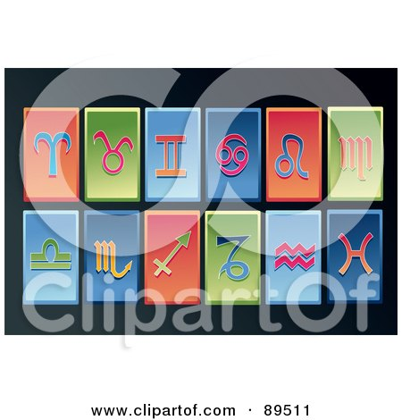 Royalty-Free (RF) Clipart Illustration of a Digital Collage Of Rectangular Red, Green And Blue Horoscope App Icons by mayawizard101