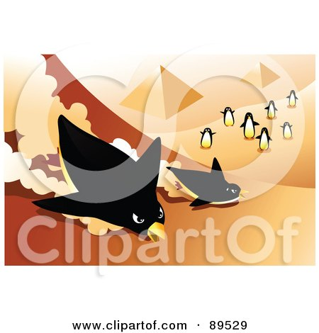 Royalty-Free (RF) Clipart Illustration of Penguins Racing Down The Side Of The Egyptian Pyramids by mayawizard101