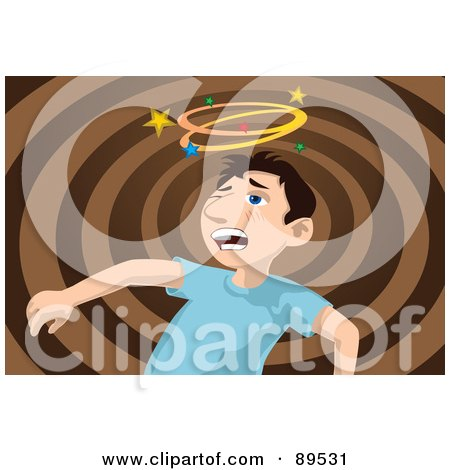 Royalty-Free (RF) Clipart Illustration of a Boy Seeing Stars After Being Punched In The Face by mayawizard101