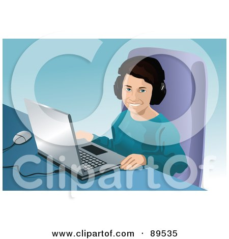 Royalty-Free (RF) Clipart Illustration of a Boy Or Girl Sitting In Front Of A Laptop by mayawizard101