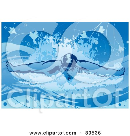Royalty-Free (RF) Clipart Illustration of a Male Swimmer Stroking Forward by mayawizard101