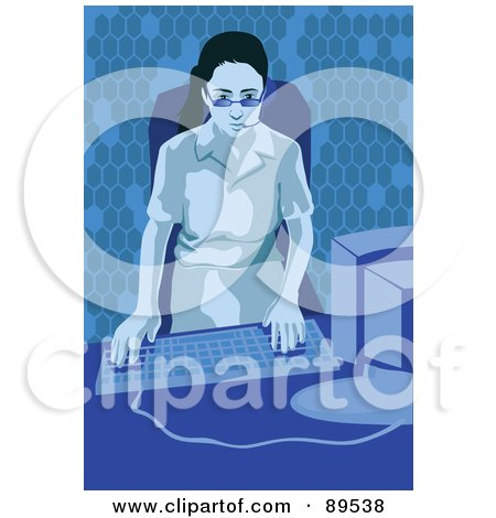 Royalty-Free (RF) Clipart Illustration of a Female Receptionist Wearing A Headset And Using A Desktop PC by mayawizard101