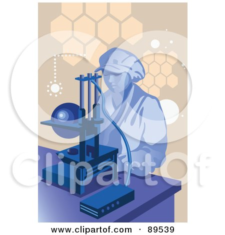 Royalty-Free (RF) Clipart Illustration of a Female Scientist By A Microscope by mayawizard101