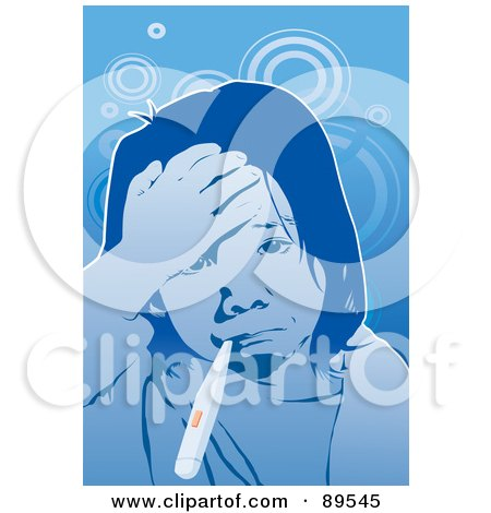 Royalty-Free (RF) Clipart Illustration of a Sick Girl Touching Her Forehead And Taking Her Temperature by mayawizard101