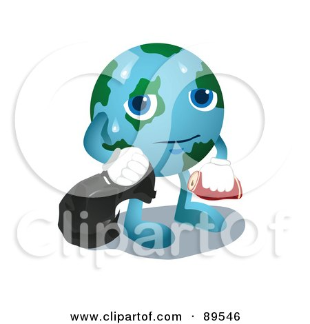 Royalty-Free (RF) Clipart Illustration of a Sweaty Globe Carrying Garbage by mayawizard101