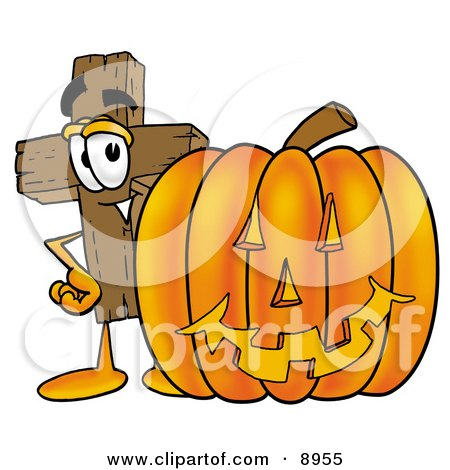 Clipart Picture of a Wooden Cross Mascot Cartoon Character With a Carved Halloween Pumpkin by Toons4Biz