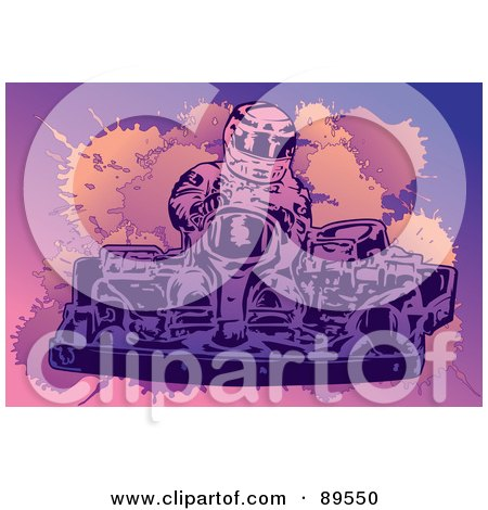 Royalty-Free (RF) Clipart Illustration of a Go Kart Racer Driving by mayawizard101