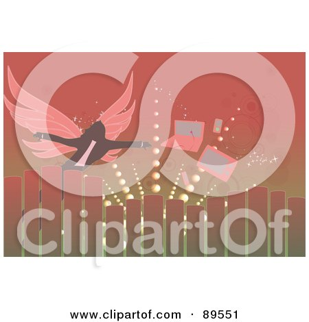 Royalty-Free (RF) Clipart Illustration of a Winged Person Reaching For A Laptop And Tv by mayawizard101
