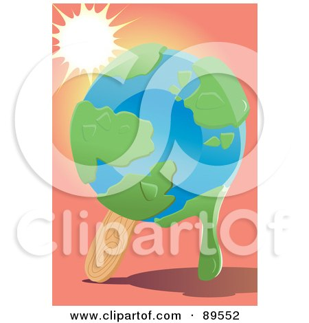 Royalty-Free (RF) Clipart Illustration of The Sun Shining Down On A Melting Globe Popsicle by mayawizard101