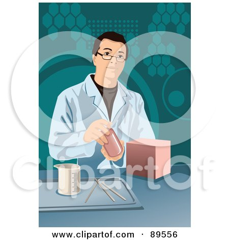 Royalty-Free (RF) Clipart Illustration of a Male Scientist By A Measuring Cup In A Lab by mayawizard101