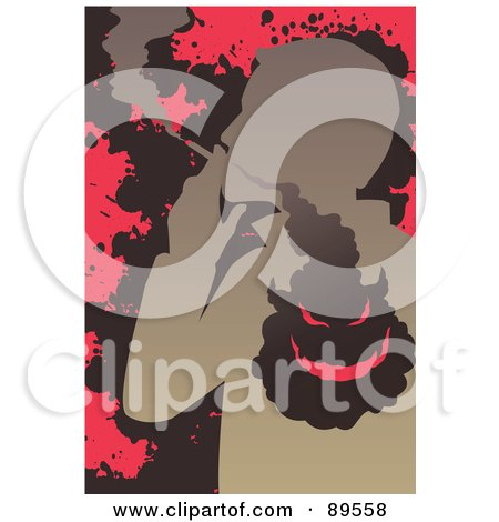 Royalty-Free (RF) Clipart Illustration of an Evil Smoke Cloud In A Smoking Man's Lungs by mayawizard101