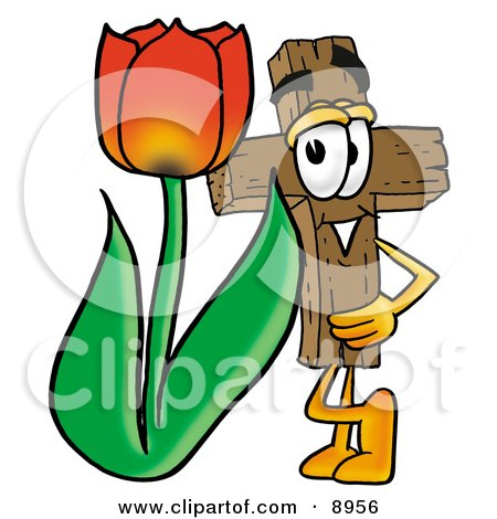 Wooden Cross Mascot Cartoon Character With a Red Tulip Flower in the Spring Posters, Art Prints