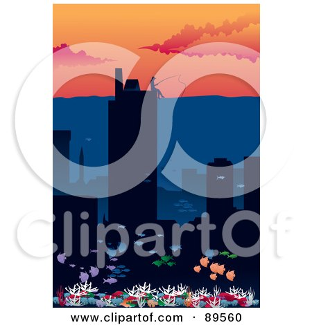 Royalty-Free (RF) Clipart Illustration of a Person Fishing From The Top Of A Building Over A City Under Water by mayawizard101
