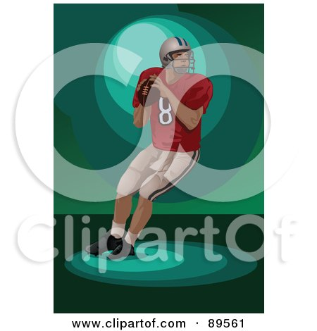 Royalty-Free (RF) Clipart Illustration of an American Football Player About To Throw A Ball by mayawizard101