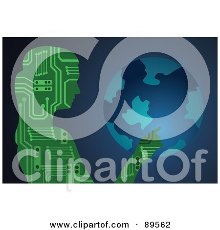 Royalty-Free (RF) Clipart Illustration of a Female Circuit Board Touching A Globe by mayawizard101