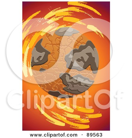 Royalty-Free (RF) Clipart Illustration of a Dry Cracking Globe Over Red And Orange by mayawizard101