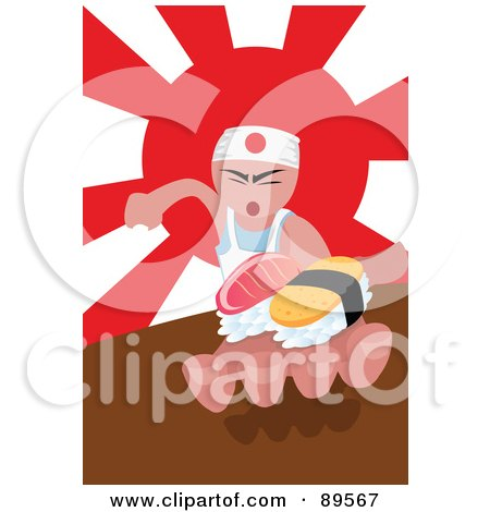 Royalty-Free (RF) Clipart Illustration of an Asian Sushi Chef Holding Food In His Hand by mayawizard101