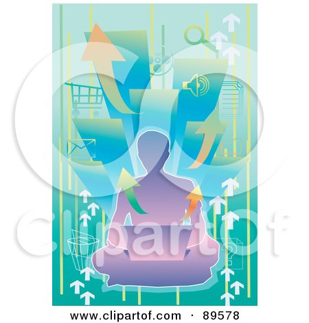 Royalty-Free (RF) Clipart Illustration of a Purple Male Silhouette Sitting On The Floor With A Laptop, Over Arrows And Computer Icons by mayawizard101