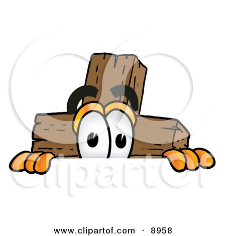 Clipart Picture of a Wooden Cross Mascot Cartoon Character Peeking Over a Surface by Toons4Biz
