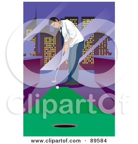 Royalty-Free (RF) Clipart Illustration of a Businessman Golfing In His City Office by mayawizard101