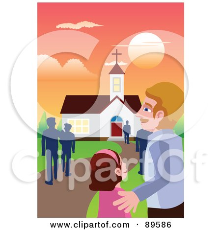 Royalty-Free (RF) Clipart Illustration of a Father And Daughter Walking To Church At Dawn by mayawizard101