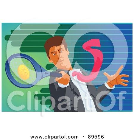 Royalty-Free (RF) Clipart Illustration of a Businessman Swinging A Dollar Tennis Racket by mayawizard101