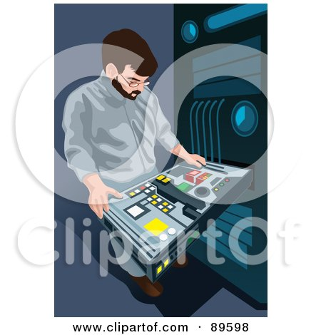 Royalty-Free (RF) Clipart Illustration of a Man Working On A Server Computer Rack by mayawizard101