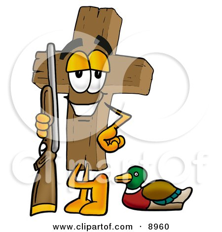 Clipart Picture of a Wooden Cross Mascot Cartoon Character Duck Hunting, Standing With a Rifle and Duck by Toons4Biz