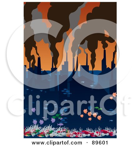 Royalty-Free (RF) Clipart Illustration of a City Of Water With Smoke Rising From Factory Chimneys by mayawizard101