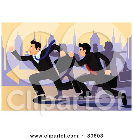 Royalty-Free (RF) Clipart Illustration of Competitive Corporate Businessmen In A Race For A Job Opportunity by mayawizard101