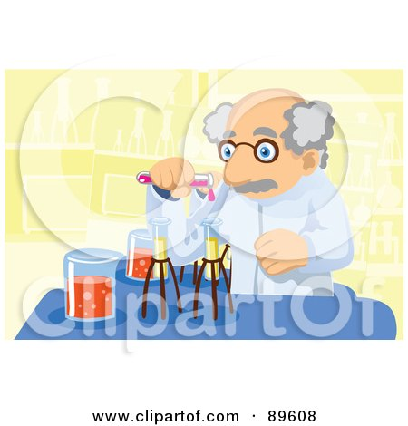 Royalty-Free (RF) Clipart Illustration of a Senior Scientist Mixing Chemicals by mayawizard101