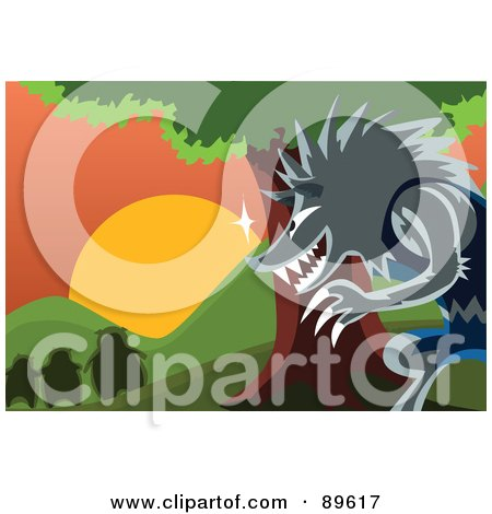 Royalty-Free (RF) Clipart Illustration of The Big Bad Wolf Watching The Three Pigs From Behind A Tree by mayawizard101