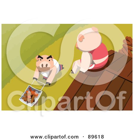 Royalty-Free (RF) Clipart Illustration of a Pig Sitting On A Roof, Looking Down At Another Pushing Bricks In A Wheelbarrow by mayawizard101