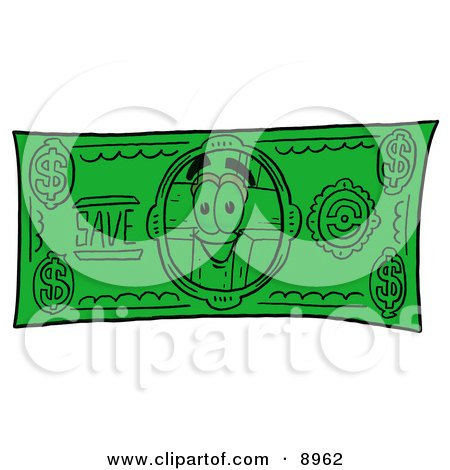 Clipart Picture of a Wooden Cross Mascot Cartoon Character on a Dollar Bill by Toons4Biz