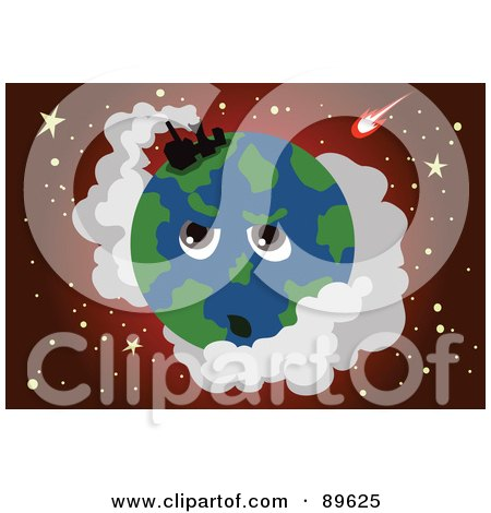 Royalty-Free (RF) Clipart Illustration of a Factory Polluting The Earth's Atmosphere by mayawizard101