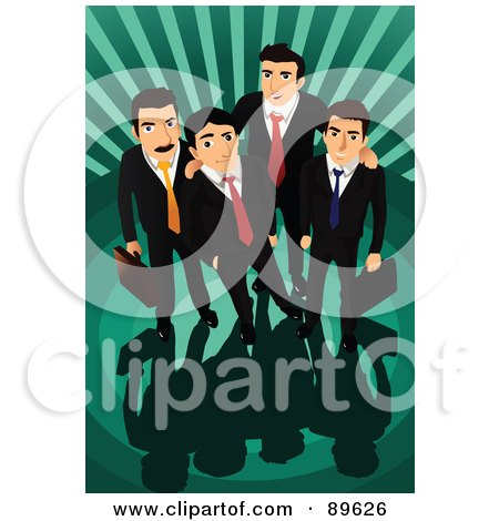 Royalty-Free (RF) Clipart Illustration of a Team Of Four Professional Businsess Men Looking Up, Over A Green Burst by mayawizard101
