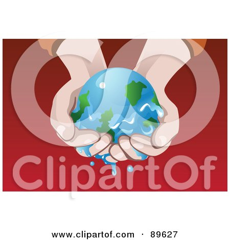 Royalty-Free (RF) Clipart Illustration of a Pair Of Hands Trying To Preserve A Melting Earth From Global Warming by mayawizard101