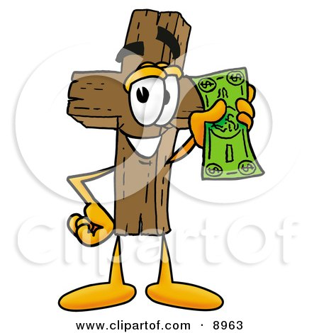 Clipart Picture of a Wooden Cross Mascot Cartoon Character Holding a Dollar Bill by Toons4Biz