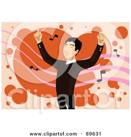 Royalty-Free (RF) Clipart Illustration of a Happy Male Conductor Directing A Band, Over Orange With Music Notes by mayawizard101
