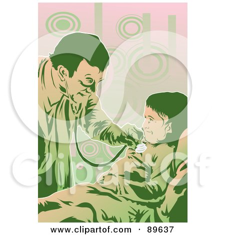 Royalty-Free (RF) Clipart Illustration of a Friendly Doctor Using A Stethoscope On A Little Girl by mayawizard101