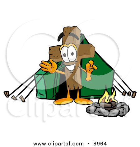 Clipart Picture of a Wooden Cross Mascot Cartoon Character Camping With a Tent and Fire by Toons4Biz