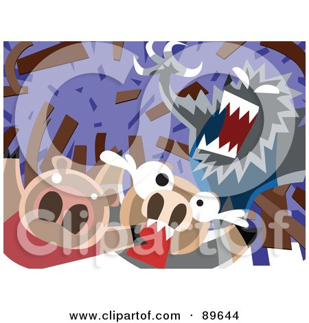Royalty-Free (RF) Clipart Illustration of The Big Bad Wolf Blowing Down A House Of Sticks by mayawizard101