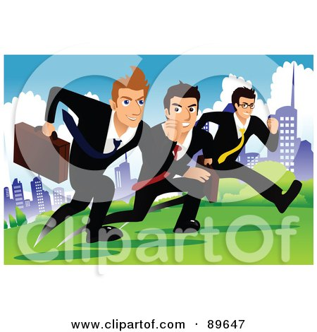 Royalty-Free (RF) Clipart Illustration of Determined Businessmen Racing Each Other In A City Park by mayawizard101